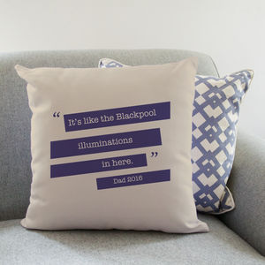 Personalised Quote Cushion For Him