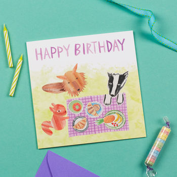 Animal Picnic Birthday Card