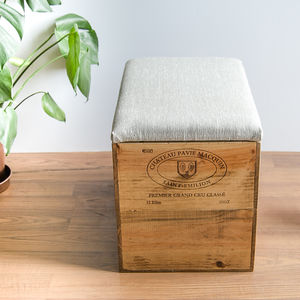 Plain Linen Up Cycled Wine Crate Blanket Box
