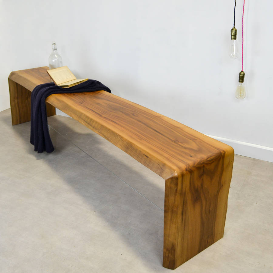 Live Edge Walnut Curve Bench With Steel Cable Stretcher By Frances Bradley