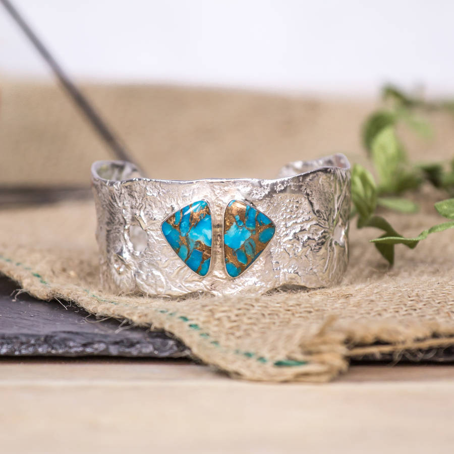 Recycled Sterling Silver Turquoise Cuff Slim