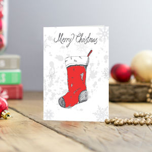 Christmas Stocking Greetings Cards Pack Of Five - cards & wrap