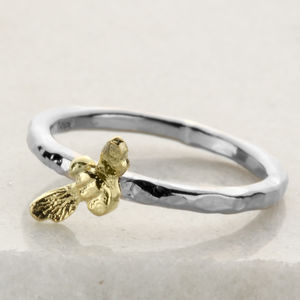 Silver And Gold Tiny Bee Stacking Ring