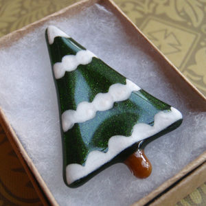Handmade Glass Snowy Tree Christmas Brooch