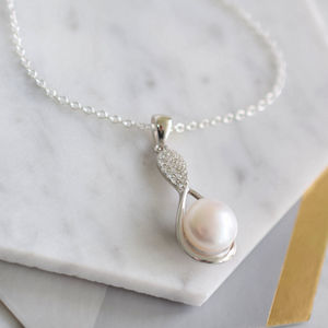 Sterling Silver Infinity Pearl And Pave C.Z Necklace