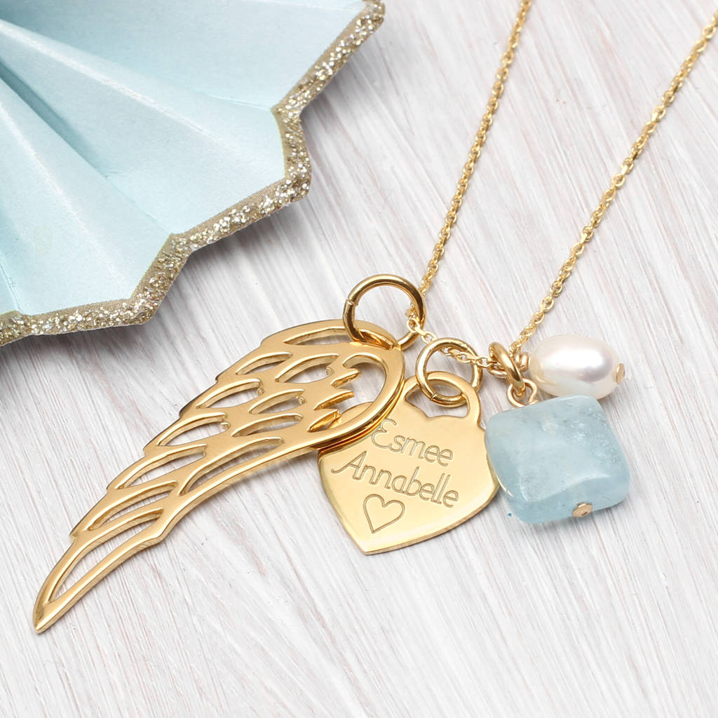 wing p angel trinity rose gold necklace in
