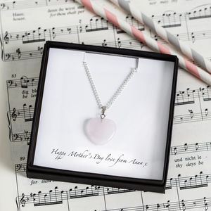 Personalised Rose Quartz Heart Mother's Day Necklace - children's jewellery