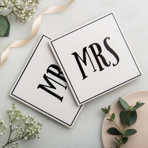 Mr And Mrs Ceramic Coasters With Gift Bag