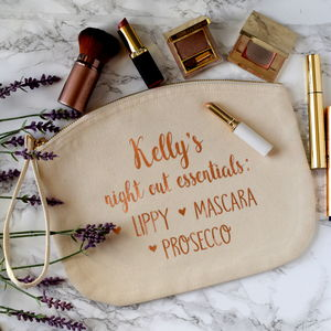 Personalised Night Out Essentials Wristlet Bag - make-up & wash bags