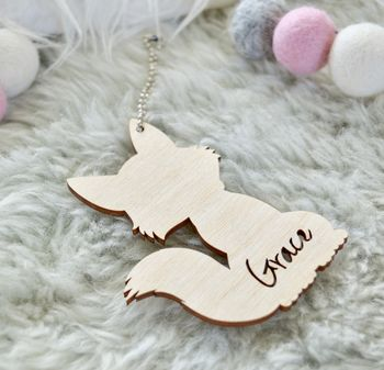 Personalised Fox Name Tag Keepsake