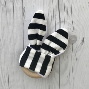 Wooden Monochrome Bunny Ear Teether - gifts for babies