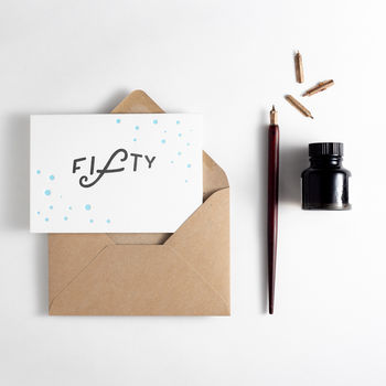 'Fifty' Dots Birthday Card