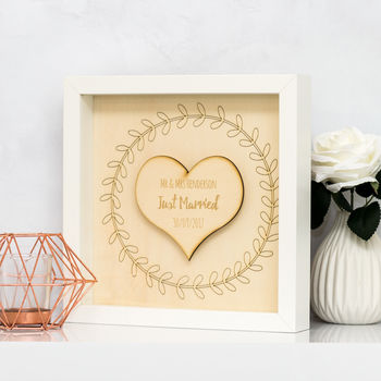Personalised Just Married Engraved Wood Box Frame