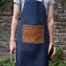 Bold Personalised Denim And Vegan Leather Apron