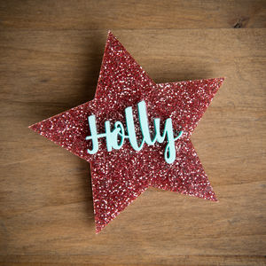 Personalised Glitter Star Name Badge