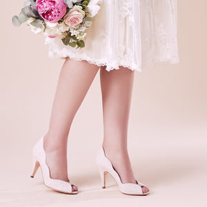 Wedding Peep Toe Shoes Arabella Blush Suede - shoes