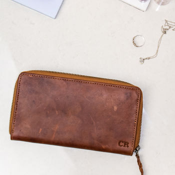 Personalised Vintage Brown Leather Ladies Purse