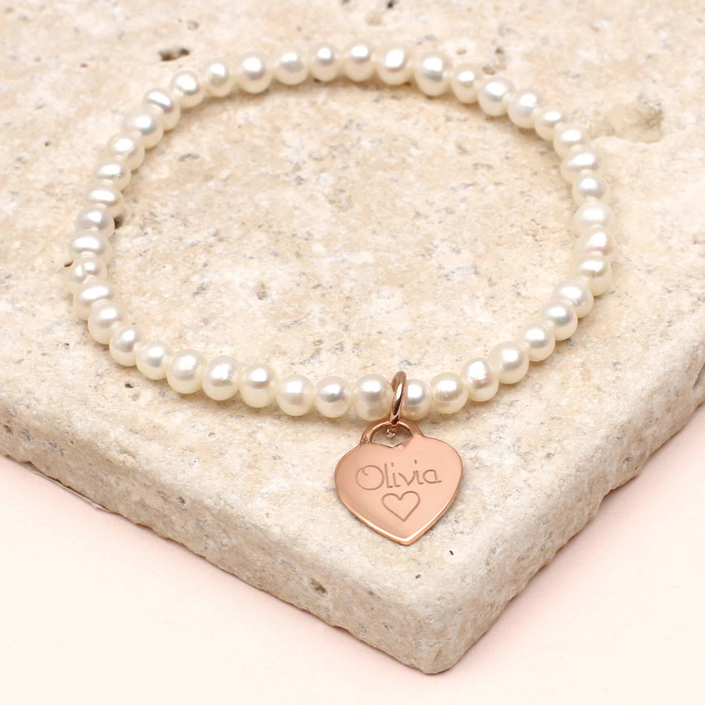 S Personalised Rose Gold Charm Pearl Bracelet