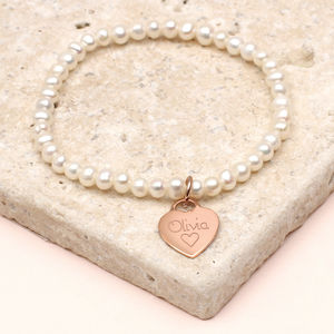 Girl's Personalised Rose Gold Charm Pearl Bracelet - for children