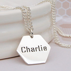 Mens Silver Personalised Hexagon Name Necklace - necklaces