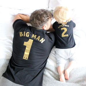Big Man, Little Man Football Style T Shirt Set - for new dads
