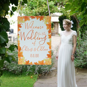 Personalised Autumn Wedding Welcome Sign - room decorations