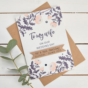 Personalised Wife Wedding Day Card - wedding cards & wrap