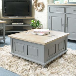 Storage Trunk Coffee Table Grey Or Antique White - furniture