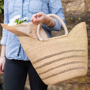 Open Weave Bolga Shopping Basket Natural And Black