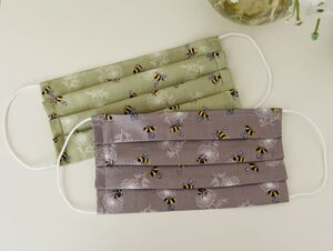 Bee Cotton Face Covering And Carry Pouch