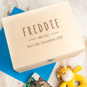 Personalised New Baby Memory / Keepsake Box - storage & organisers