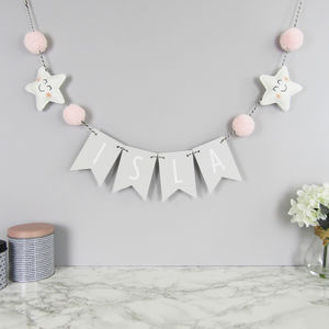 Personalised Star Name Bunting With Pom Poms - decoration
