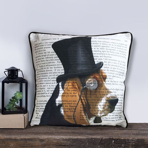Basset Hound Cushion, Formal Dog Collection - bedroom