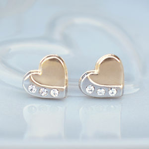 9ct Gold Two Tone Heart Stud Earrings - earrings