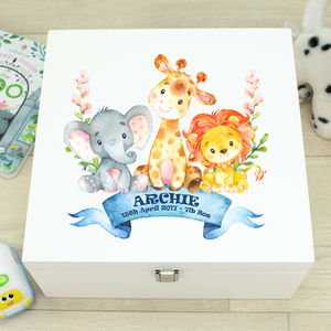 Large Jungle Animal White Wooden Baby Memory Box - keepsake boxes