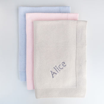 Personalised Knitted Baby Blanket