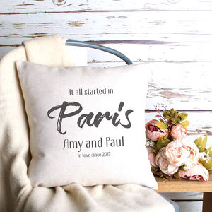 Personalised 'It All Started In' Cushion Cover