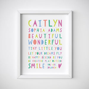 Personalised You Are So Loved New Baby Print