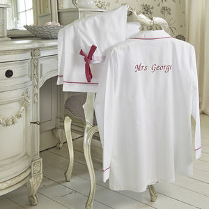 Personalised Women's White And Pink Cotton Pyjama's - pyjamas