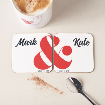 Personalised Ampersand Couples Coasters