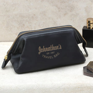 Personalised Luxury Italian Leather Wash Bag