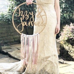 Personalised Wedding Boho Fringe Hoop - wreaths