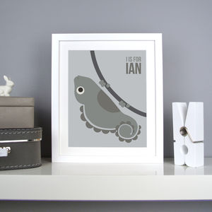 Personalised Iguana Nursery Print