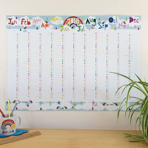 2018 Large Rainbow Wall Planner Calendar - whats new