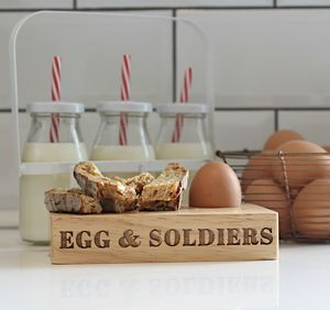 Wooden Egg And Soldiers Board - egg cups & cosies