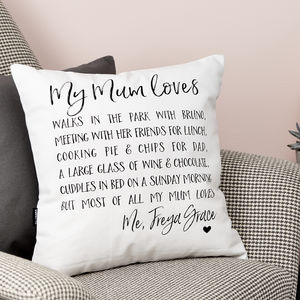 Personalised 'My Mum Loves' Cushion - gifts for mothers