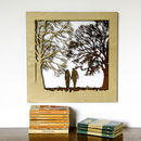 Couple In The Forest Silhouette Woodcut Wall Art