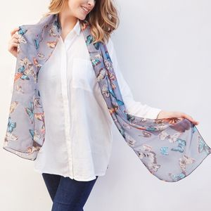 Butterfly Print Skinny Silk Scarf - gifts for teenage girls