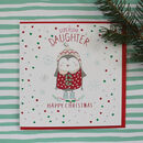 Daughter Christmas Greetings Card Penguin Design