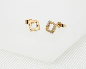 Small Solid Gold Square Earrings